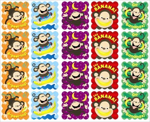 Scratch 'n sniff stickers monkeys